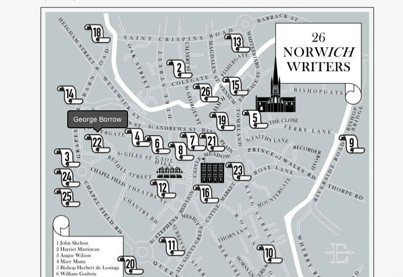 Norwich City of Literature Map